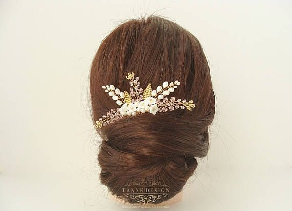 Bohemian flower wedding hair comb Beaded floral twigs ivory