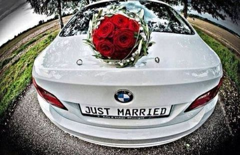 just#married#BMW#rose#red#