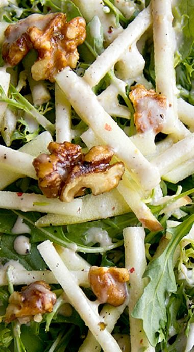 Honey Crisp Apple Salad with Candied Walnuts and Cider Vinaigrette