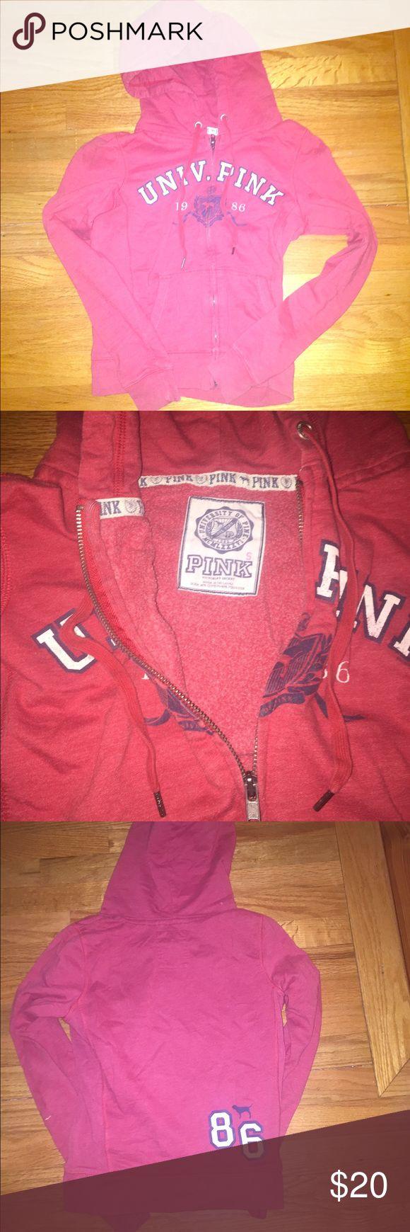 Victoria secret pink zip up hoodie Victoria secret pink zip up hoodie, red, size small PINK Victoria's Secret Jackets & Coats