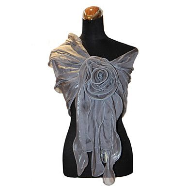 Terylene Evening/Office Wrap/Shawl With Flower Detail (More Colors) – USD $ 39.19