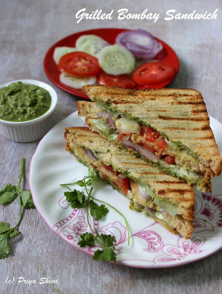 Grilled Bombay Sandwich - enjoy delicious #sandwich made with chutney, veggies and wheat bread for #breakfast !
