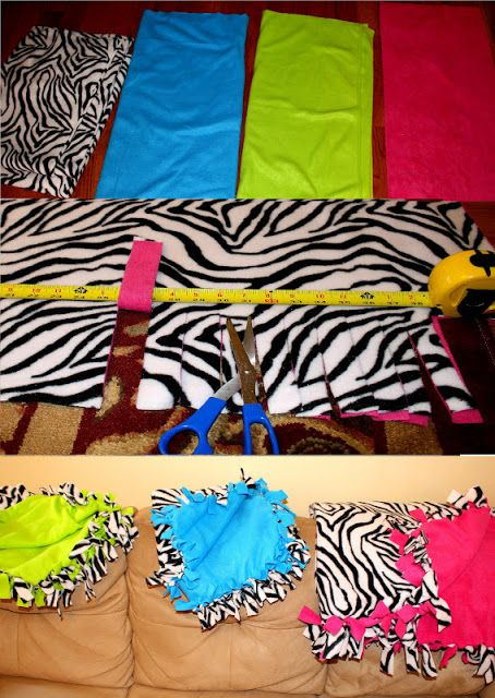Easy no sew fleece blanket; just cut & tie ends together. Tons of colors to choose from.