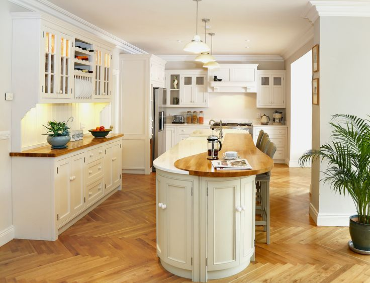 Bespoke painted inframe kitchen with wooden oak and for Narrow kitchen units