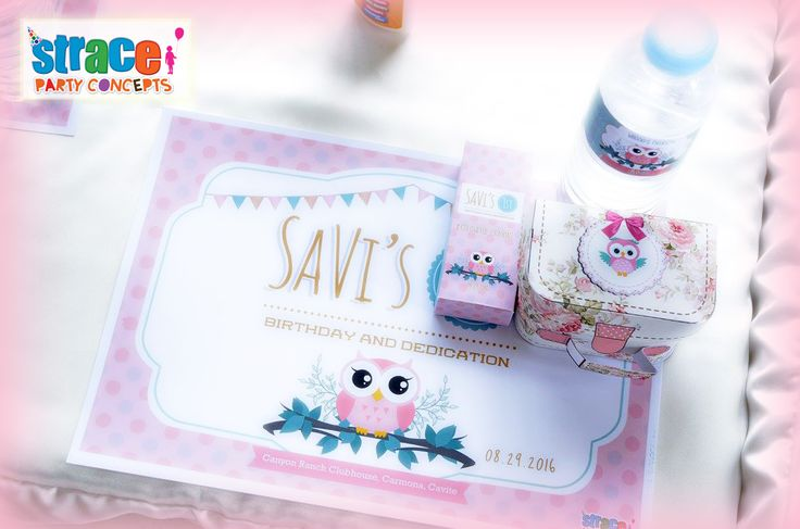 Owl Party Set-up by Strace Party Concepts: Personalized placemat, crayons, bottled water and candy box