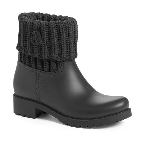 Women's Moncler 'Ginette' Knit Cuff Leather Rain Boot ($360) ❤ liked on Polyvore featuring shoes, boots, black leather, black leather boots, rubber boots, black boots, black shoes and wellies boots