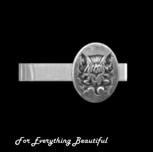 Thistle Design Engraved Oval Antiqued Mens Sterling Silver Tie Bar