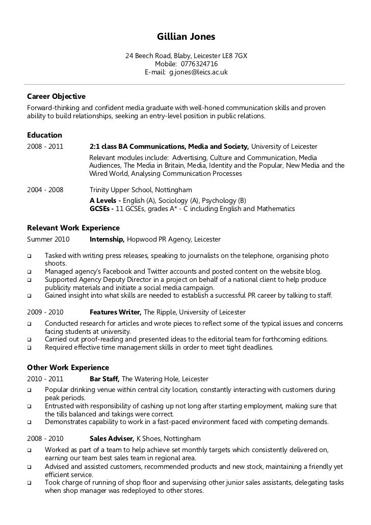 51 best Letter Of Resignation \ Cover Letter \ Cv Template images - sample resume objectives for college students