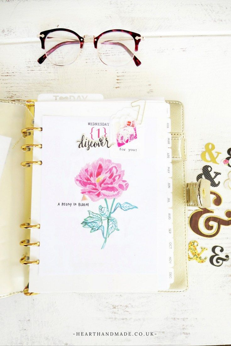 Cute Gold Planner and floral dashboard The Ultimate Mini Guide To Planner Decorating For Beginners