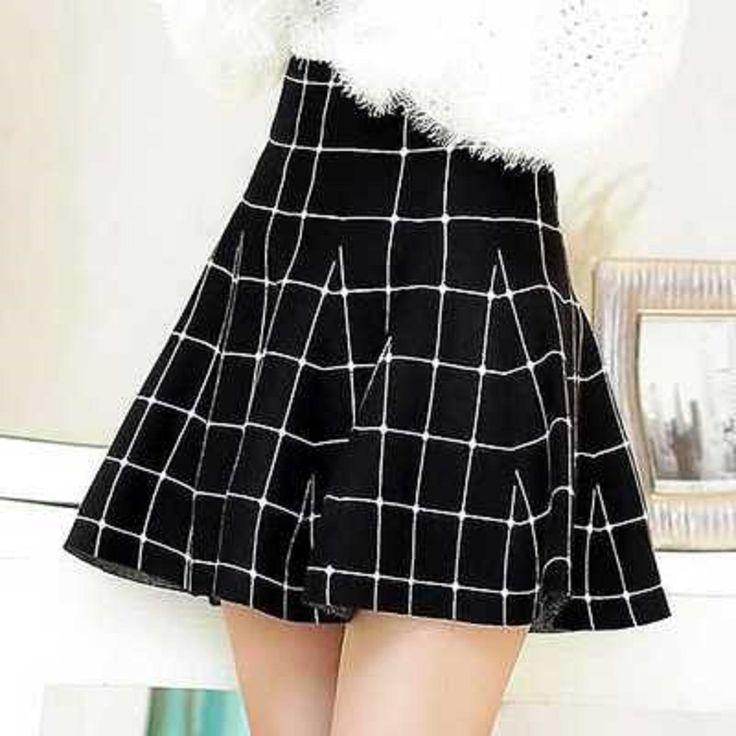 Punk Mujeres Faldas Plisadas Señora Short A Cuadros Blanco Y Negro A Line Mini Falda Otoño en Faldas de Moda y complementos de mujer en AliExpress.com | Alibaba Group