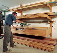 Co-locate lumber storage and miter saw. Genius.: Woodshop, Workshop, Articles, Woodworking, Coloc Lumber