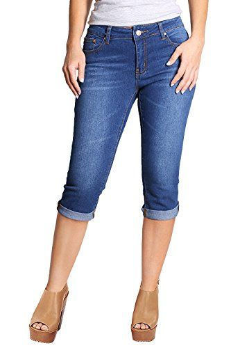 Special Offer: $18.30 amazon.com Our Stretchy 5 Pocket Skinny Capri Jeans are very versatile and can easily be dressed up or down. These cute and trendy colored jeans feature a semi-stretch fabric, traditional five-pocket construction, front zipper & button closure, super slim fit, and...