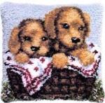Puppies latch hook cushion kit