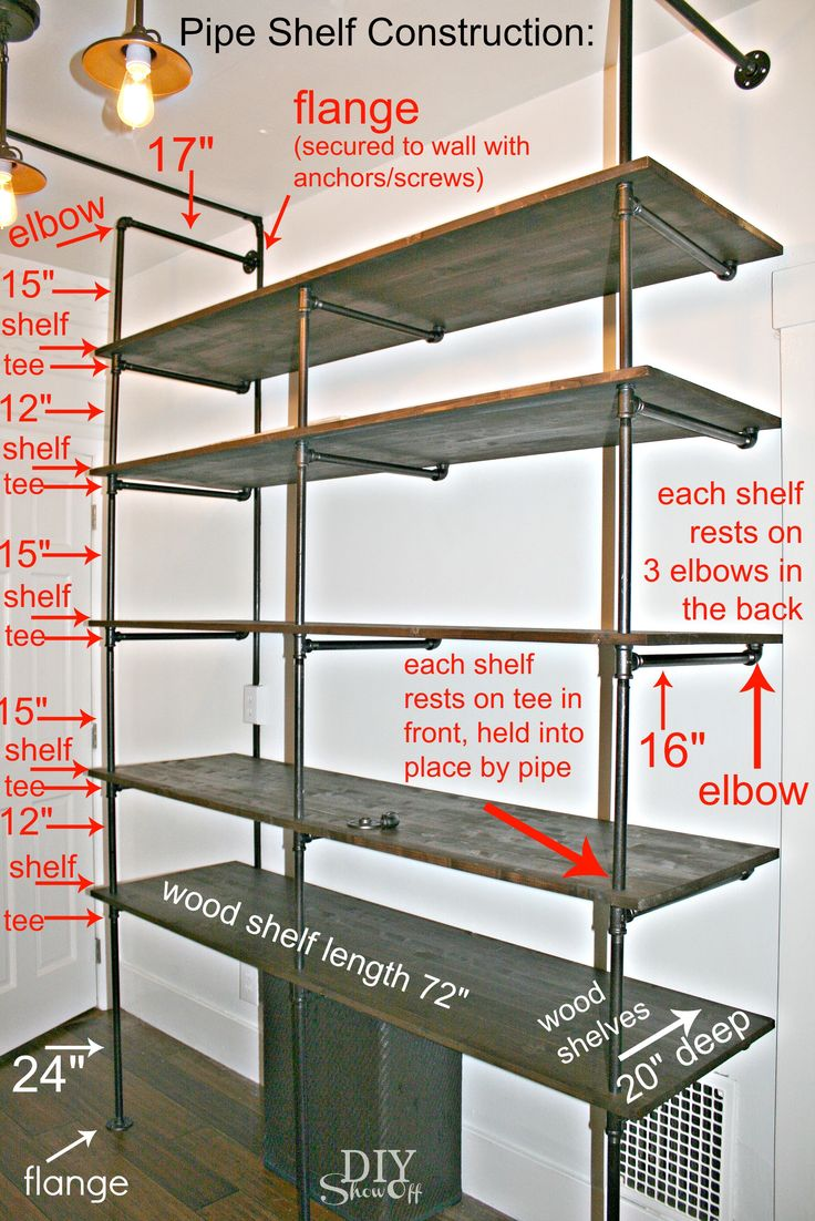 DIY pipe shelf construction - really great instructions. I would love for the garage... Not having to worry about those heavy-duty, but not secured to the wall, plastic utility shelves loaded with heavy items fall on someone.