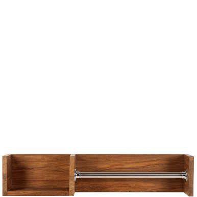 Sie verwandeln Ihr Badezimmer in ein richtiges Spa - mit der edlen Thalassa-Serie. Möbel aus Teakholz gehen hier eine harmonische Verbindung ein mit natürlichem Flussstein, Spiegel, Metall und geflochtenen Körben: Hier: Hängeregal aus geöltem Holz, mit Ablage und Handtuchstange.