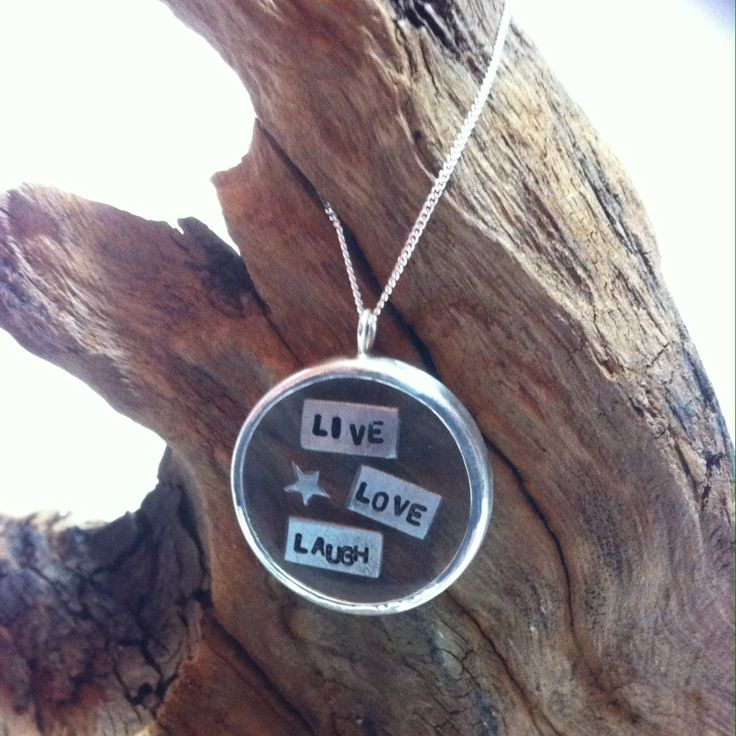 "Sterling silver encased resin ""live love laugh"" pendant £45   #silver #resin #gift #craft #jewellery #forsale #necklace #pict #wedding #jewelry #fashion #style      http://pict.com/p/C0Q"