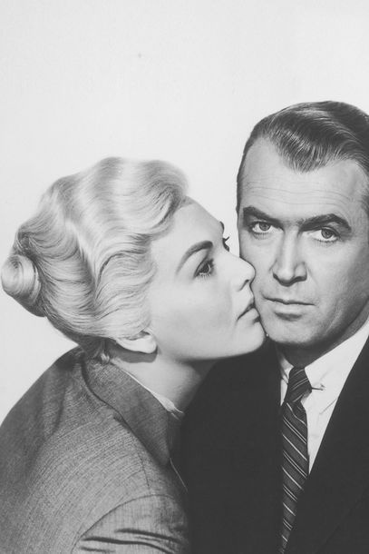 "Kim Novak and James Stewart in Alfred Hitchcock's ""Vertigo"" - 1958"