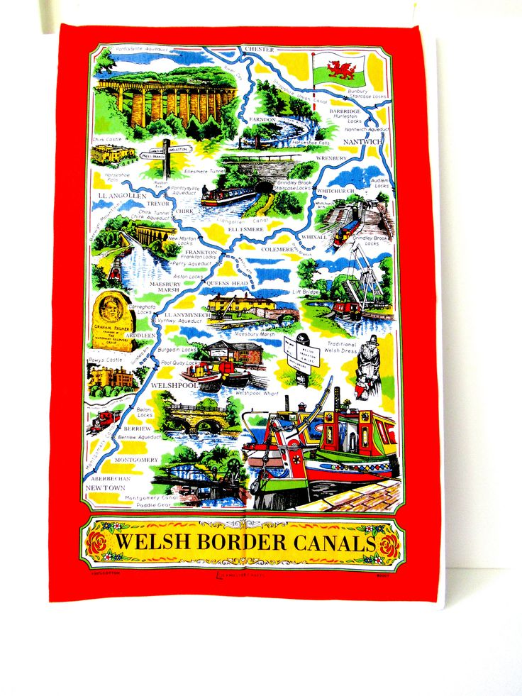 Vintage Kitchen Towel, Welsh Border Canals, nautical linen towel, kitchen Towel, canal boat decor, beach house decor, British canals decor by lovesknitting on Etsy