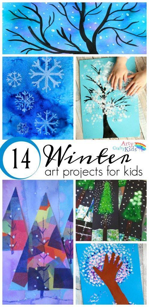 16 Winter Art Projects for Kids - A selection of gorgous snowy Winter art projec... - http://www.oroscopointernazionaleblog.com/16-winter-art-projects-for-kids-a-selection-of-gorgous-snowy-winter-art-projec/