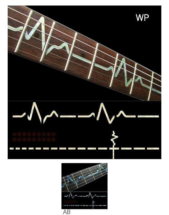 EKG Line Fret Markers Inlay Stickers Decals Guitar