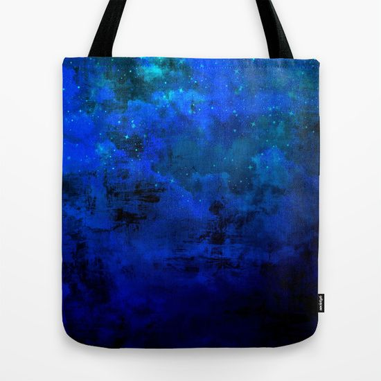 """""""Second Star to the Right"""" Fine Art Abstract Acrylic Painting Cool Colorful Art Tote Bag Fashionable Ombre Deep Indigo Navy Royal Blue Galaxy Stars Cloudy Night Sky by #EbiEmporium on #Society6, #colorful #fineart #ombre #midnight #blue #indigo #galaxy #cosmic #starrynight #stars #art #totebag #bag #shoulderbag #tote #fashion #fashionable #giftforher #stylish #artbag #arttote #trendy #chic #cool #modern #bluebag #carryall"""
