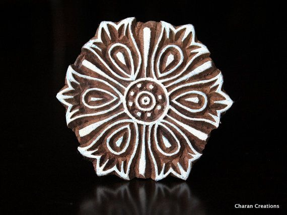 Indian Handmade wood stamps are a unique combination of Art, Skill & Functionality!    This lovely wood stamp features a custom designed round