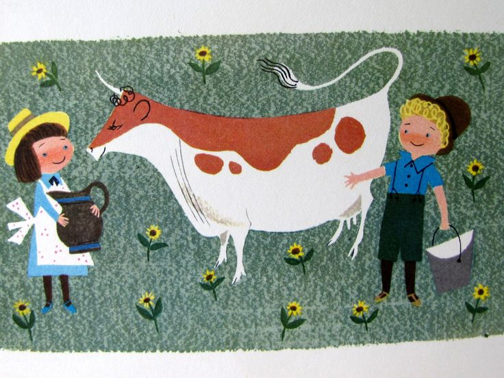 Vintage 1951 Lithograph Alice and Martin Provensen Large Childrens Book Illustration, The Cow. $10.00, via Etsy.