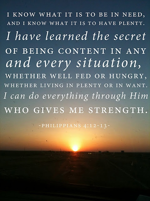 Paul's words on being content until he instructs me to move....Father, help me to listen to you instead of all the other voices.