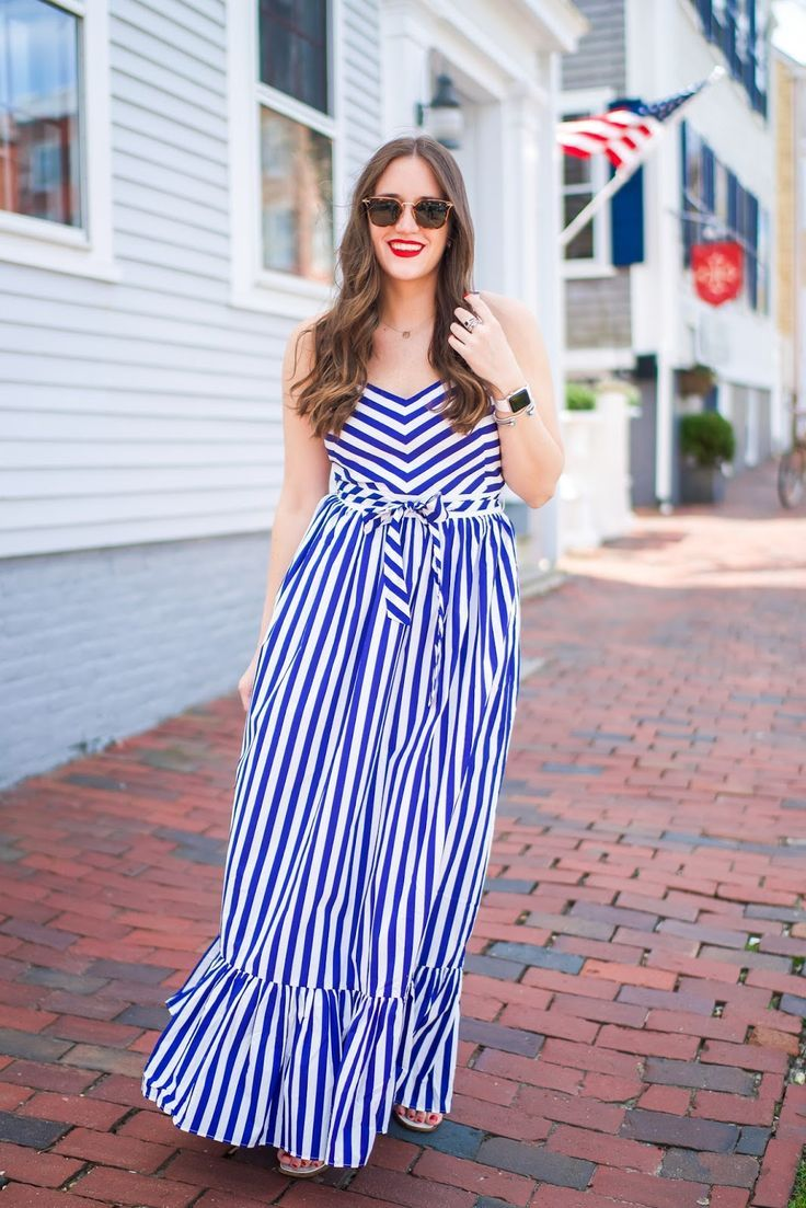 Why Nantucket Is So Special To Me Blue And White Summer Dresses White Dress Summer Maxi Dress [ 1103 x 736 Pixel ]