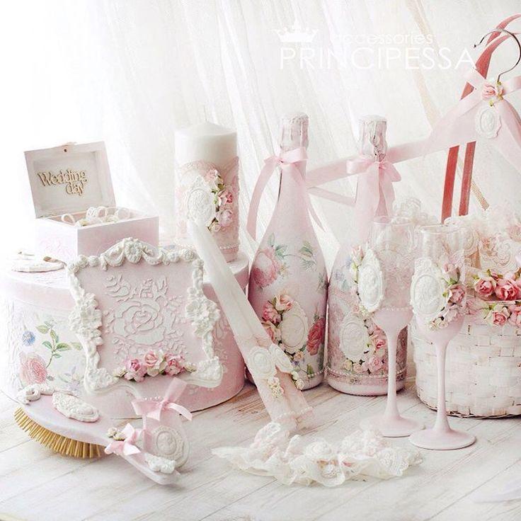 """«Свадебный набор """"Нежный пион"""" выполнен на заказ. В набор входит: шкатулка для колец, коробка для конвертов круглая, расческа и зеркальце для невесты,…»"""
