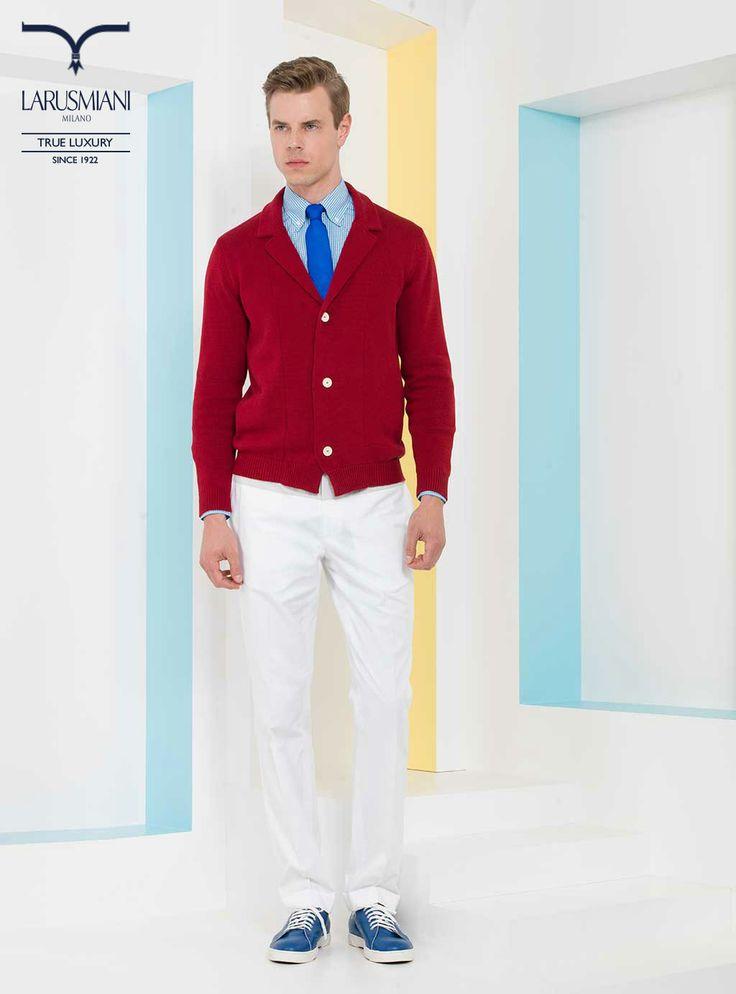 Cotton knit cardigan - Botton-down checked cotton shirt - Handmade seven-fold silk tie - Cotton bi-color trousers - Leather sneakers       #SS2014 #fashion #style #menswear #luxury #larusmiani www.larusmiani.it