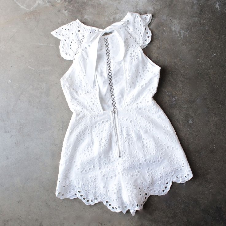 open back crochet eyelet romper - shophearts - 1