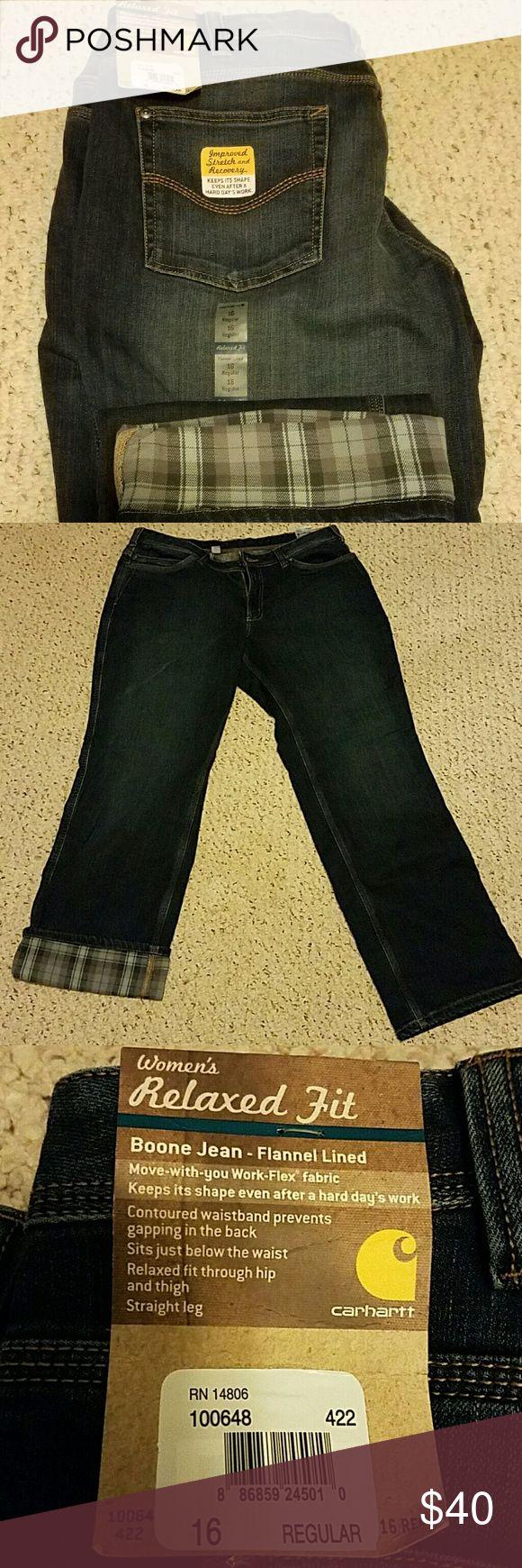 Carhartt flannel lined jeans NWT Carhartt flannel lined jeans, size 16 regular Carhartt Jeans Straight Leg