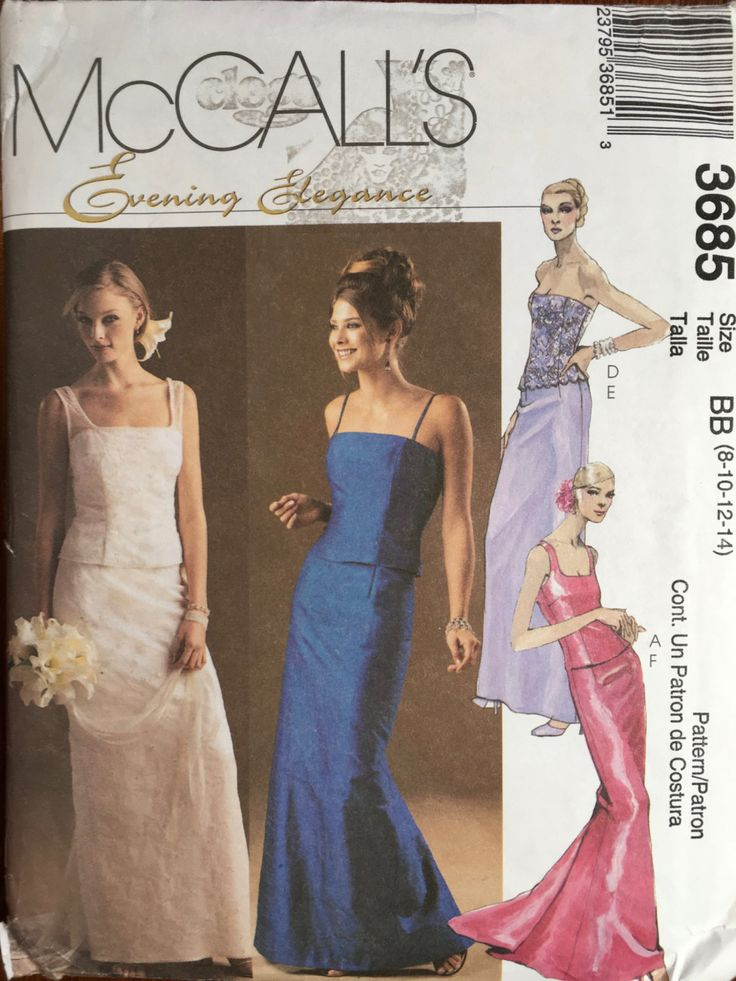 McCall's Sewing Pattern McCalls 3685 Evening Elegance Prom Dress Top Skirt 8-10-12-14 by weseatree on Etsy