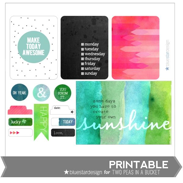 Sunshine Printables by Blue Star Design by Two Peas @kari alissa Peas in a Bucket