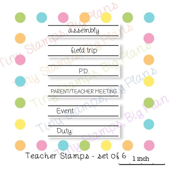 Planner stamps teacher stamps by TinyStampsBigPlans on Etsy