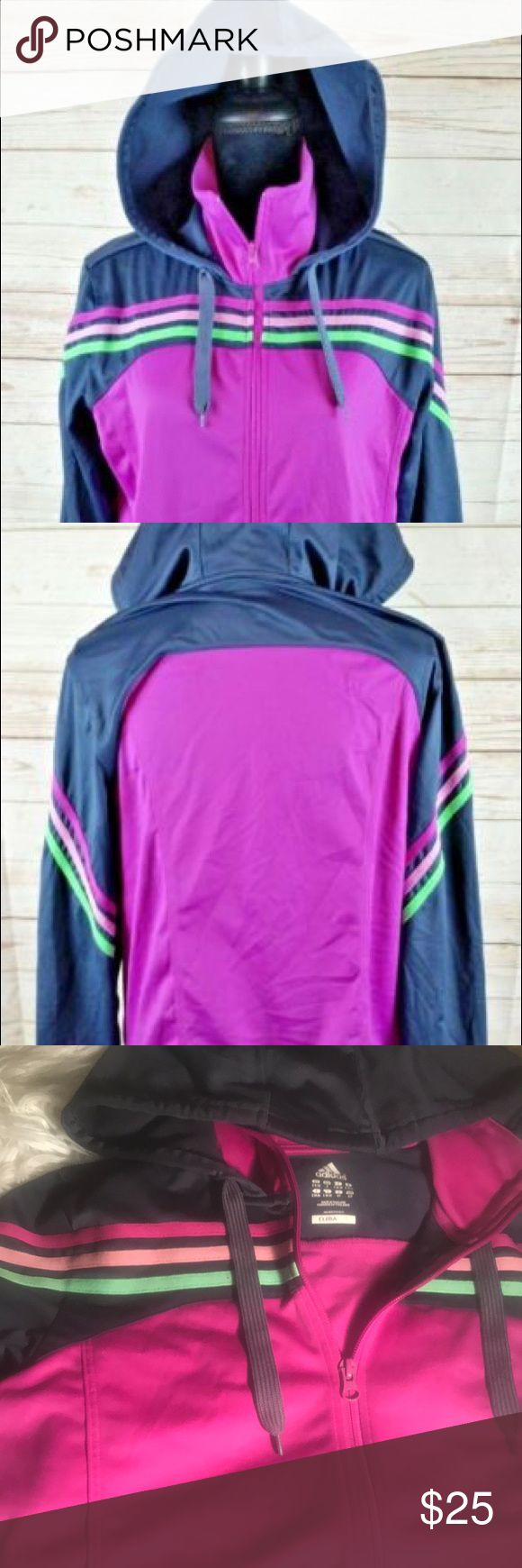 Adidas Women's Track Jacket Adidas Women's Small Hoodie Track Jacket Purple Gray Neon Green ClimaLite. adidas Tops Sweatshirts & Hoodies
