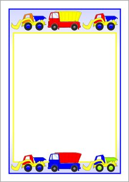 Dump trucks and diggers A4 page borders