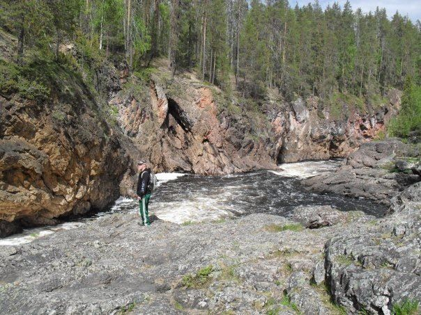 Kiutaköngäs - foamy waterfall in Oulanka National park.