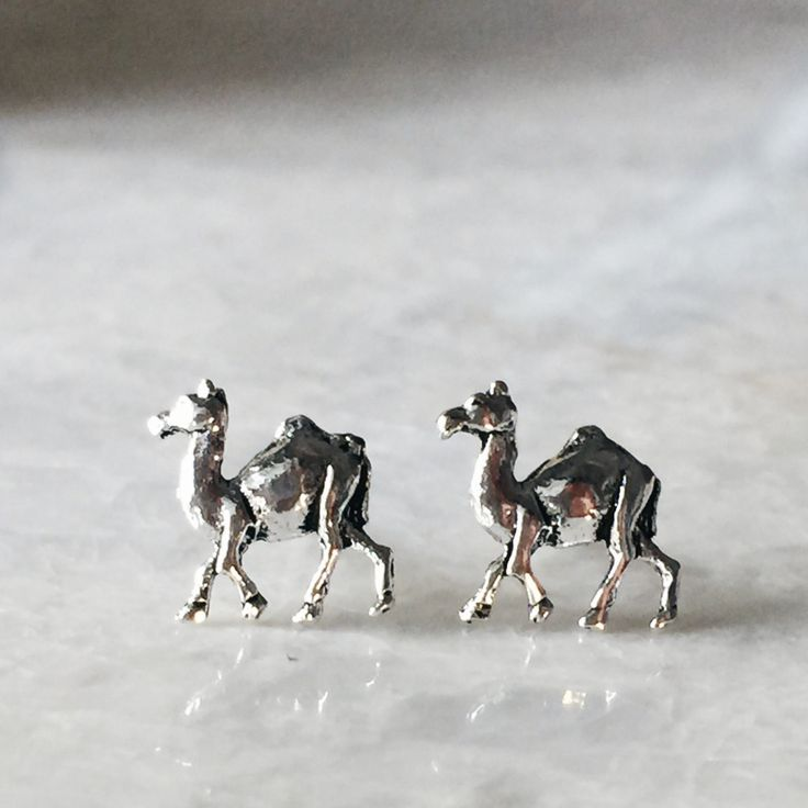 Sterling silver camel ear studs, Tiny camel ear studs, Camel earrings, Silver jewellery, Tiny silver jewelry, Cartilage ear stud by SilverCartel on Etsy