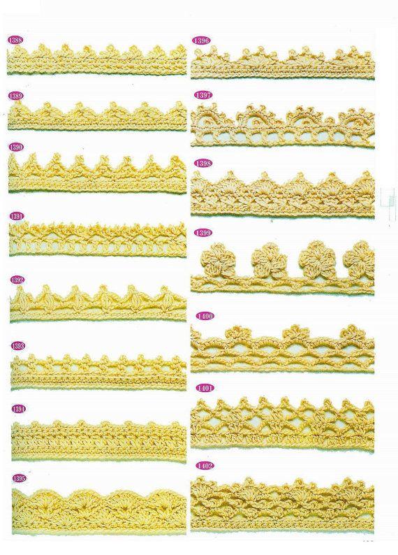 Crochet trim patterns 15 pieces lace edge by MissMotleysToo, $4.50