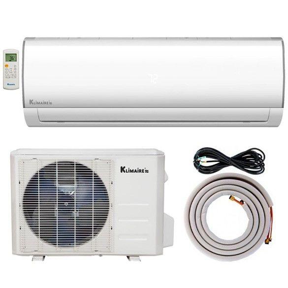 12,000 BTU Klimaire 16 SEER Ductless Mini-Split Inverter Air Conditioner Heat Pump WiFi Enabled System With 15 Ft Installation Kit (115 Volt)