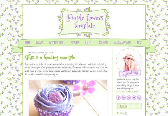 Responsive Blogger Template. Purple flowers template. Premade. Blog design. Blogger theme. Cute feminine, playful, joyful, spring inspired.