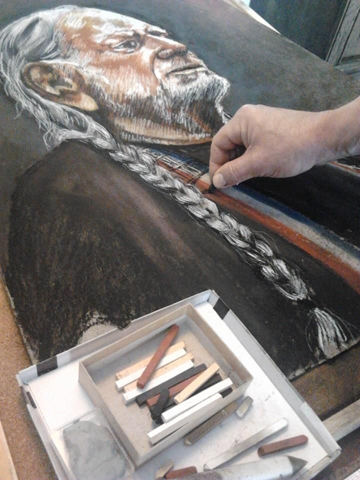 Willy Nelson, pastel 50x70cm
