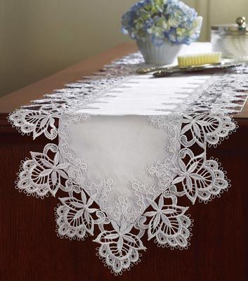 Battenburg White Lace Dresser Scarf Table Runner; flowers, jewelry box --  simple but very pretty and home-y ♥