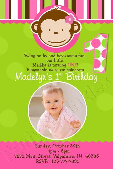 Mod Monkey - Girl-girl mod monkey invitation, 1st birthday party invitation, pink polka dots, first