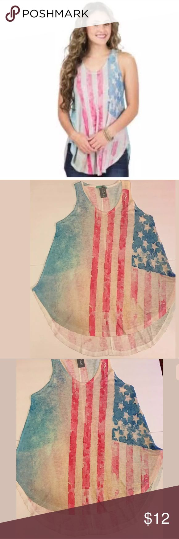 NEW Karlie Distressed Watercolor American Flag Tee NEW Karlie Distressed Watercolor American Flag Tank Top Hi Lo Size Small   Please see pictures for measurements.             Ref:o#et6syoooq Karlie Tops