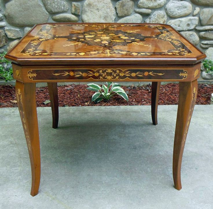 Details About Vintage Italian Wood Inlay Convertible Multi
