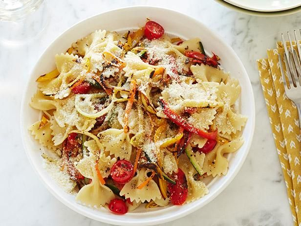 Recipe of the Day: Pasta Primavera          After roasting fresh zucchini, yellow squash, carrots, bell peppers and bursting cherry tomatoes, fold the soft ribbons into bowtie pasta before sprinkling with Parmesan for a bright spring meal.