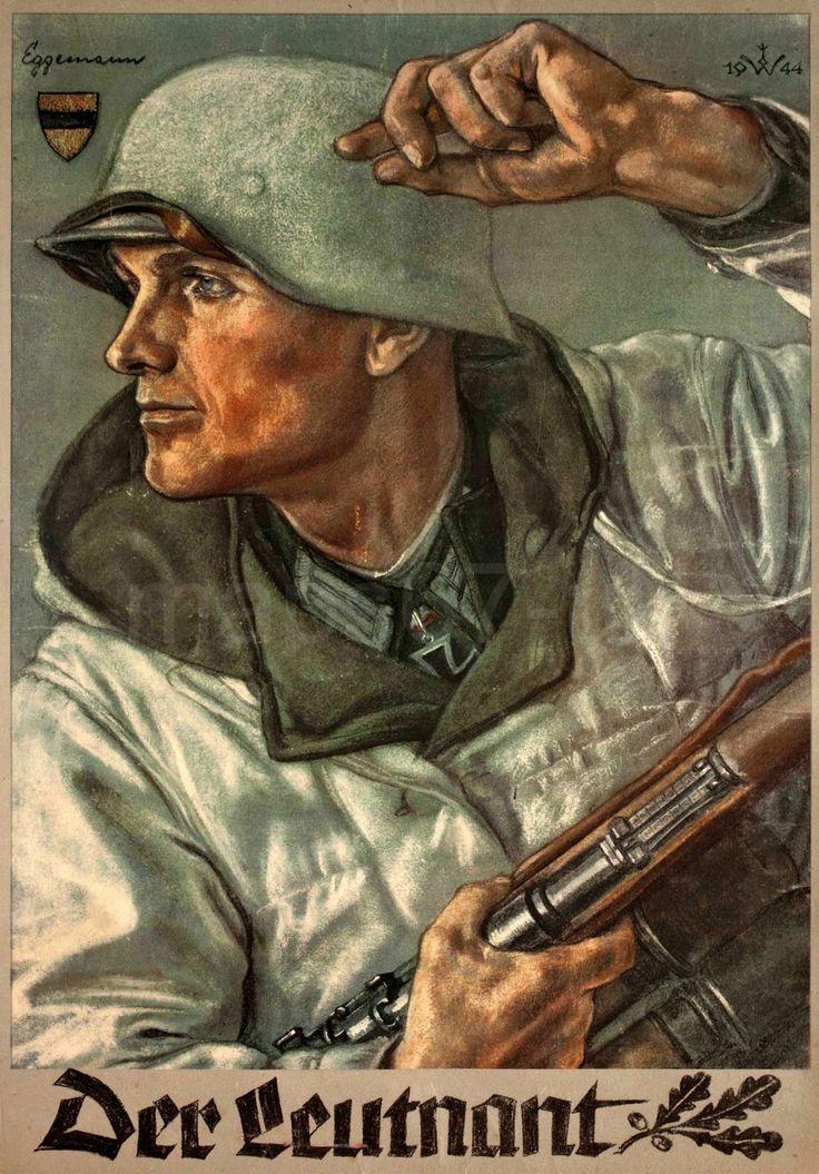"""""""Der Leutnant"""" 1944: Farbiges Plakat von Wolfgang Willrich mit Darstellung eines vorwärtsstürmenden Offiziers. Als Vorlage diente der Ritterkreuzträger Lt. d. R. Walter Eggemann, Stab Gren. Rgt. 680. German WWII propaganda poster"""